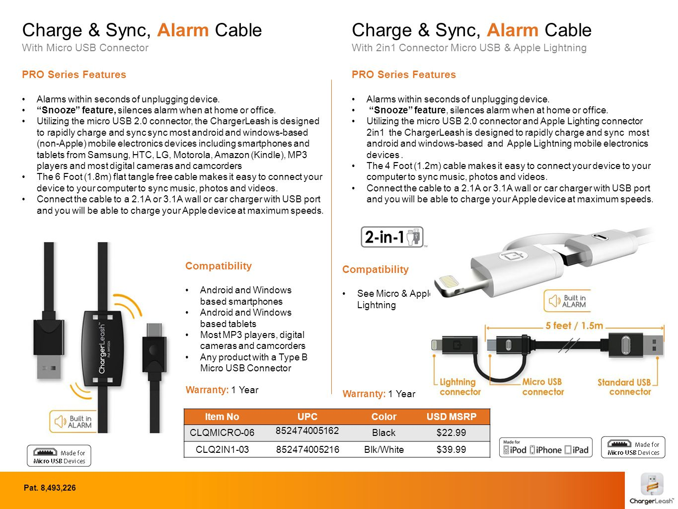 """Charge & Sync, Alarm Cable With Micro USB Connector PRO Series Features Alarms within seconds of unplugging device. """"Snooze"""" feature, silences alarm w"""