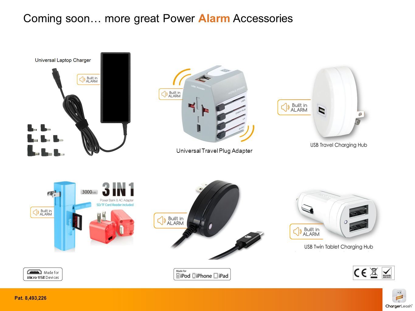 Coming soon… more great Power Alarm Accessories Pat. 8,493,226 Universal Travel Plug Adapter