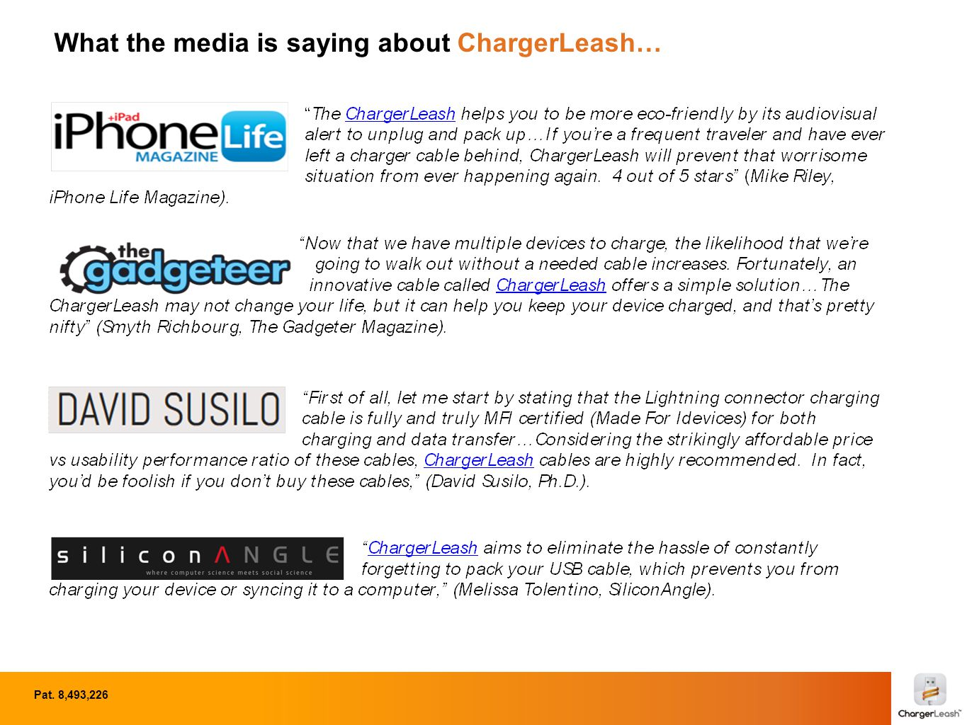 ChargerLeash in the press - Summer 2014 Pat. 8,493,226