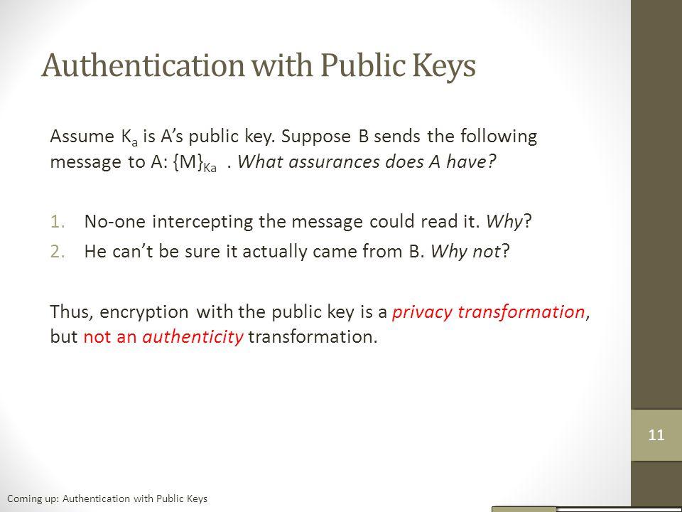 Authentication with Public Keys Assume K a is A's public key.