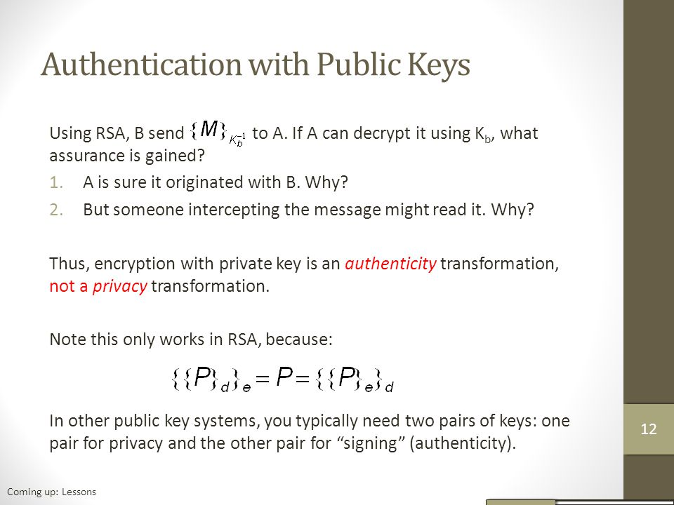 Authentication with Public Keys Using RSA, B send to A.