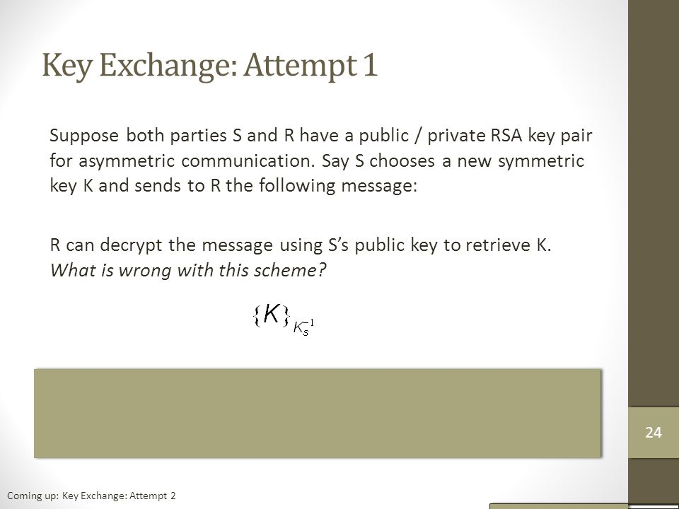 Key Exchange: Attempt 1 Suppose both parties S and R have a public / private RSA key pair for asymmetric communication.