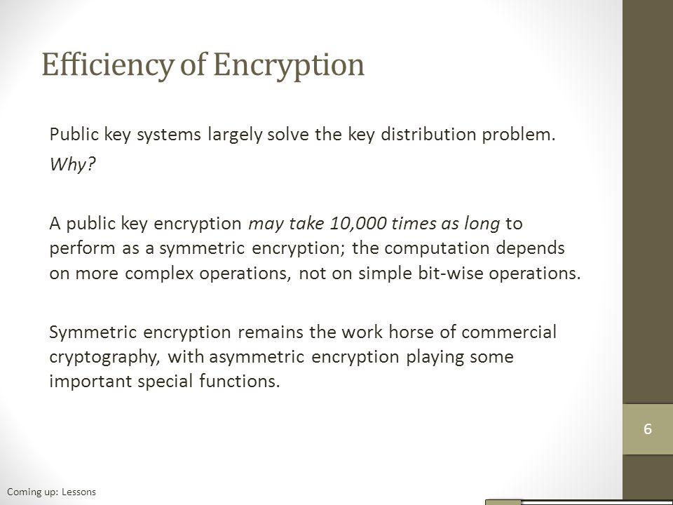 Efficiency of Encryption Public key systems largely solve the key distribution problem.