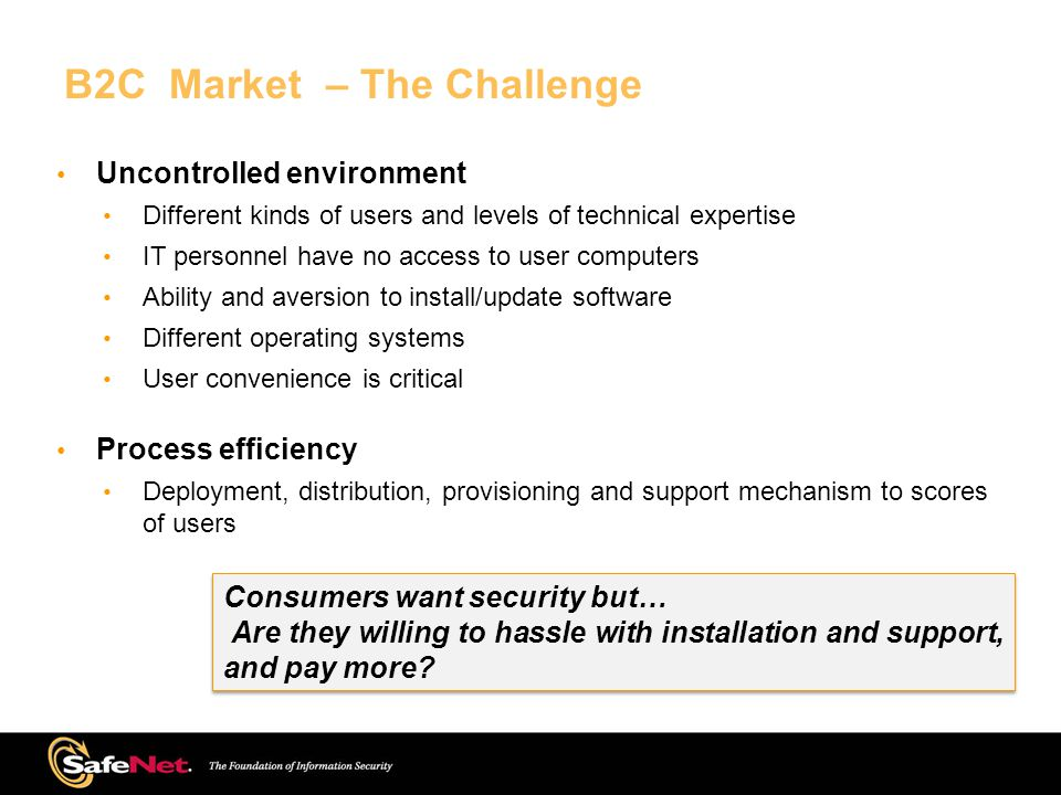 B2C Market – The Challenge Uncontrolled environment Different kinds of users and levels of technical expertise IT personnel have no access to user computers Ability and aversion to install/update software Different operating systems User convenience is critical Process efficiency Deployment, distribution, provisioning and support mechanism to scores of users Consumers want security but… Are they willing to hassle with installation and support, and pay more.