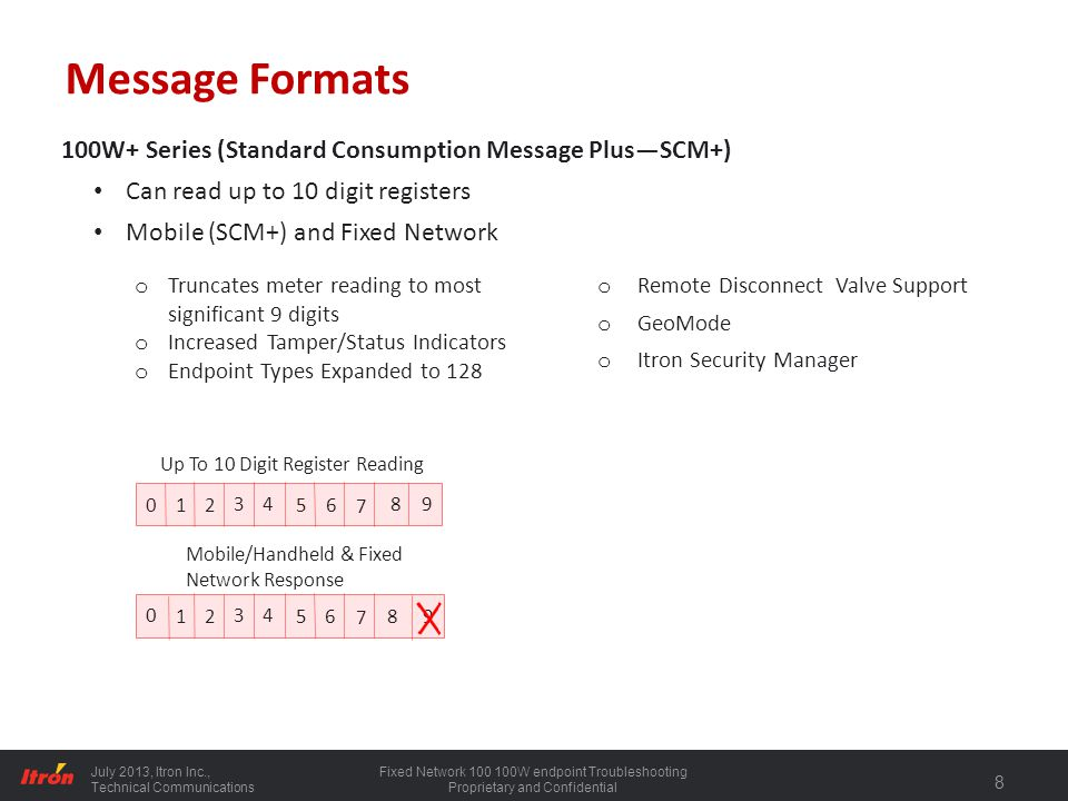 July 2013, Itron Inc., Technical Communications Fixed Network 100 100W endpoint Troubleshooting Proprietary and Confidential 9 SCM+ System Requirements To utilize the new features of SCM+ messaging reading systems must be capable of accepting the new message structure.
