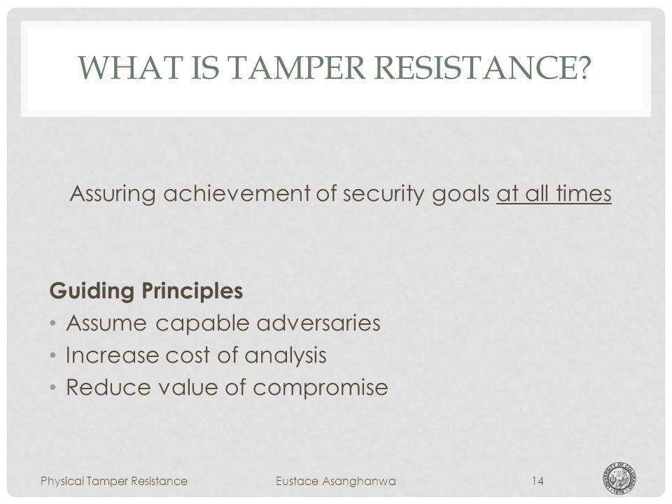 WHAT IS TAMPER RESISTANCE.