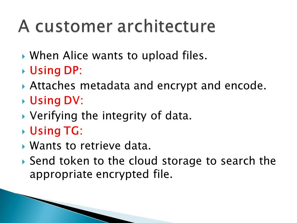  When Alice wants to upload files.  Using DP:  Attaches metadata and encrypt and encode.