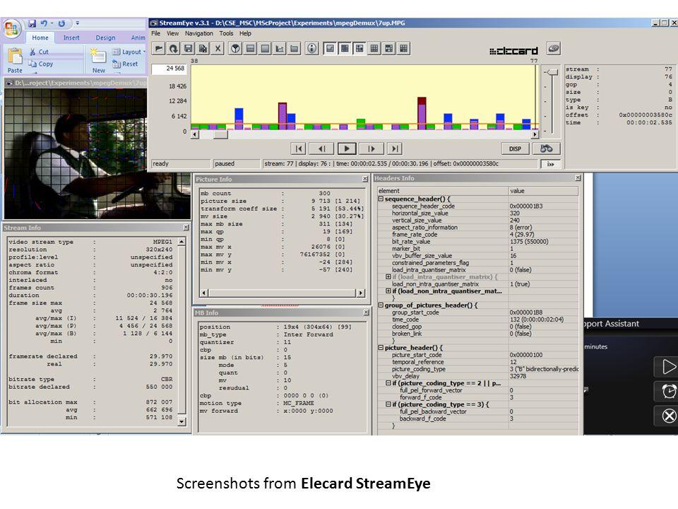 Screenshots from Elecard StreamEye