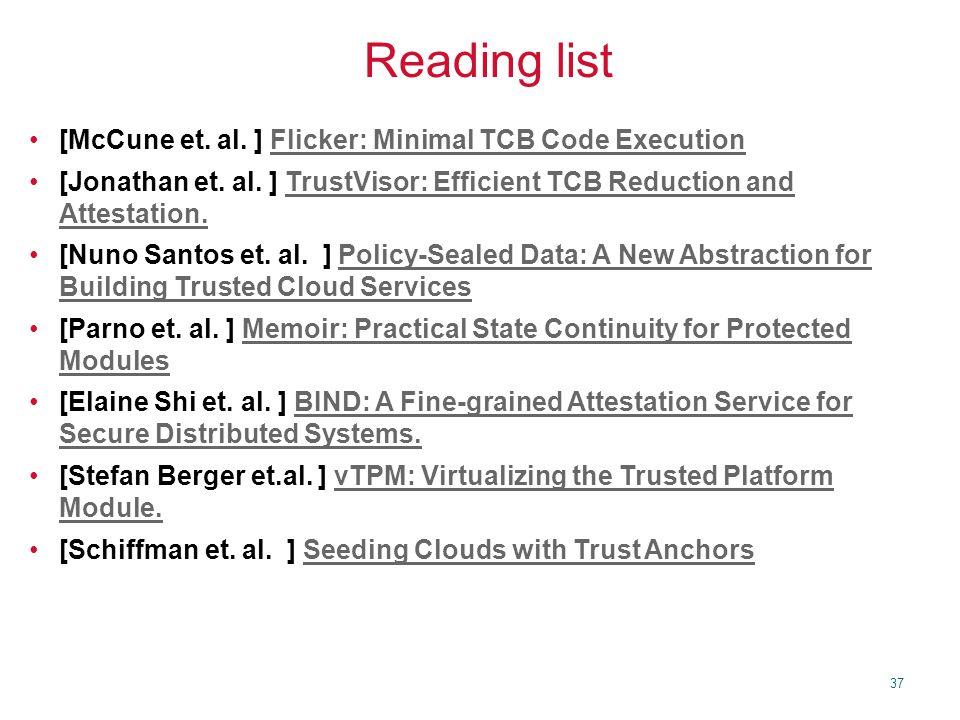 37 Reading list [McCune et. al.