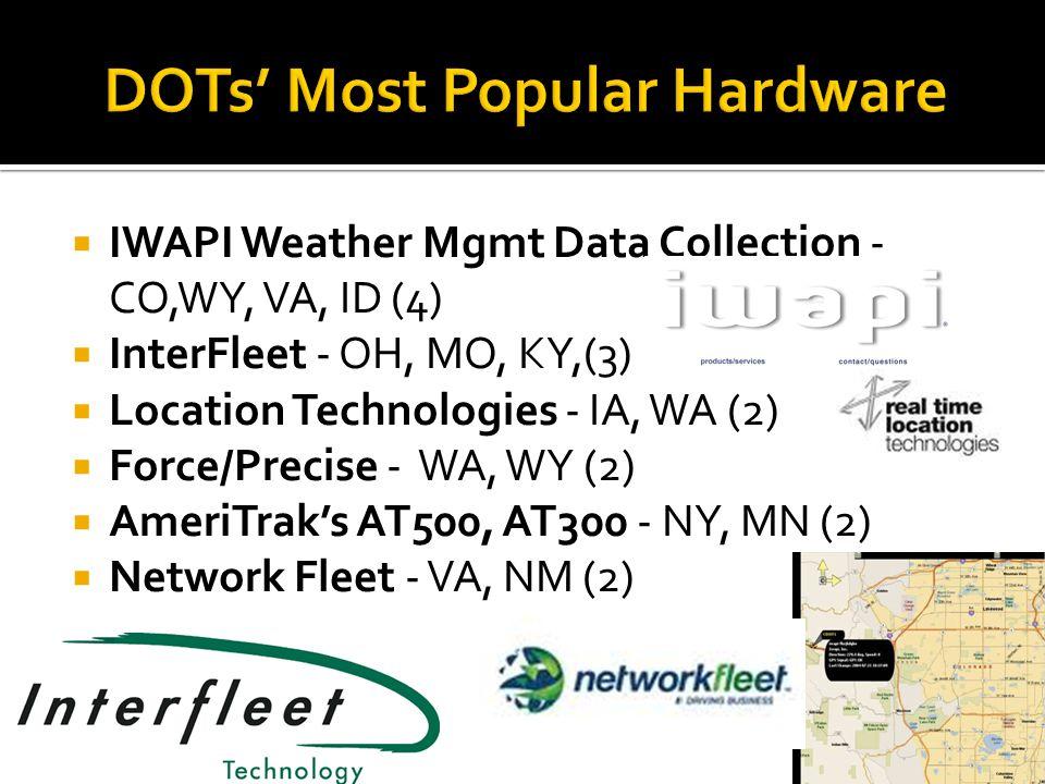  Trimble/University of Minnesota/RFID Complete (AK)  Component Tech, Cirus, Network Fleet (DE)  CalAmps – LMU-5000 (MD)  LMU-700 for Contract Equipment (MD)  Intelligent Devices, Inc.