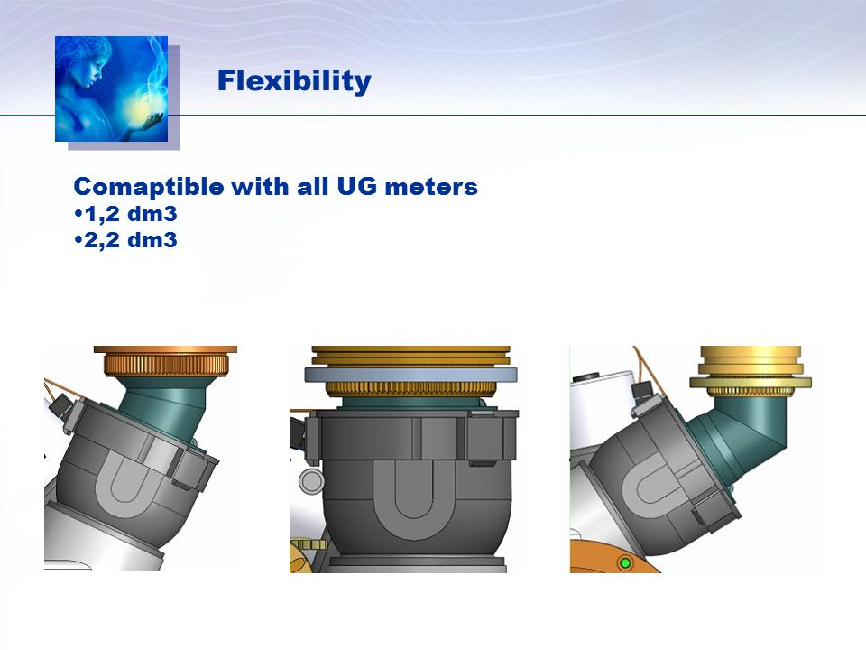 Flexibility Comaptible with all UG meters 1,2 dm3 2,2 dm3