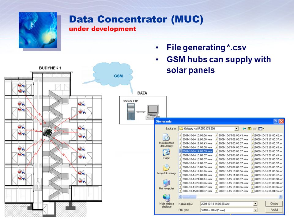 File generating *.csv GSM hubs can supply with solar panels Data Concentrator (MUC) under development
