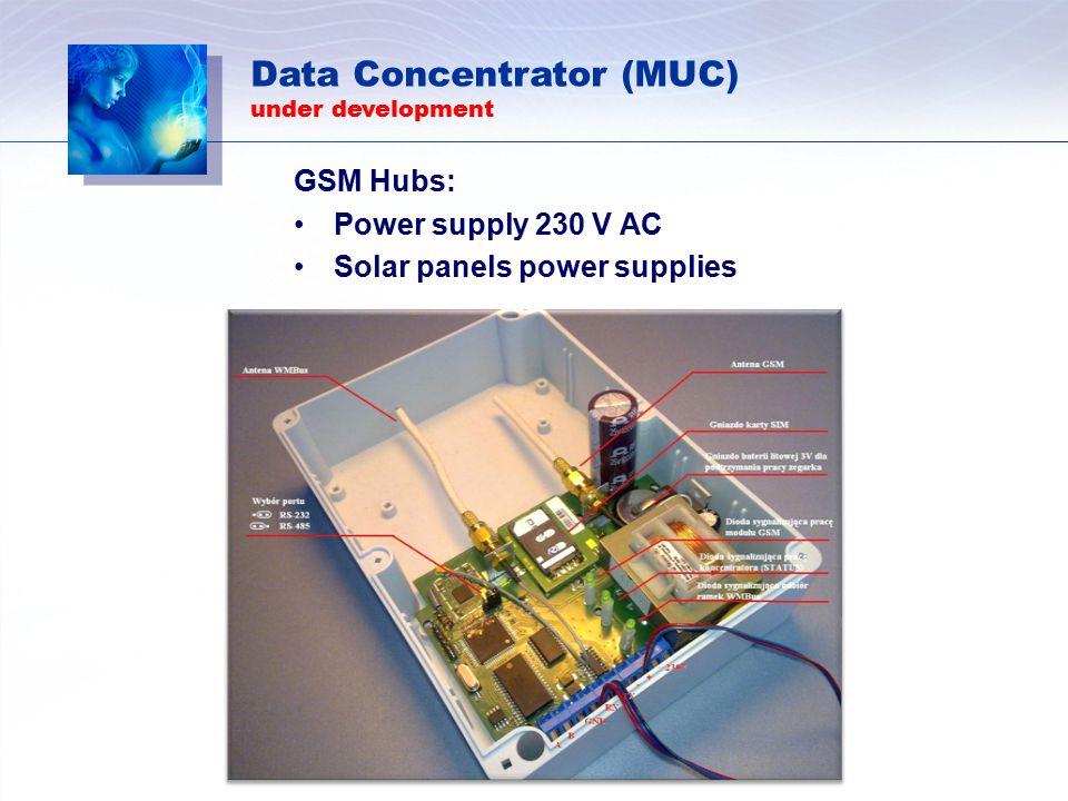 GSM Hubs: Power supply 230 V AC Solar panels power supplies Data Concentrator (MUC) under development