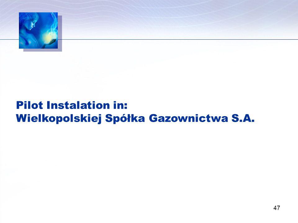 47 Pilot Instalation in: Wielkopolskiej Spółka Gazownictwa S.A.