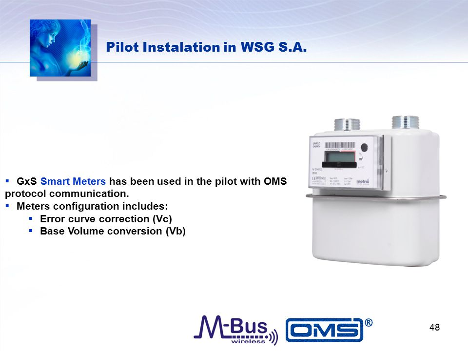 Pilot Instalation in WSG S.A.  GxS Smart Meters has been used in the pilot with OMS protocol communication.  Meters configuration includes:  Error