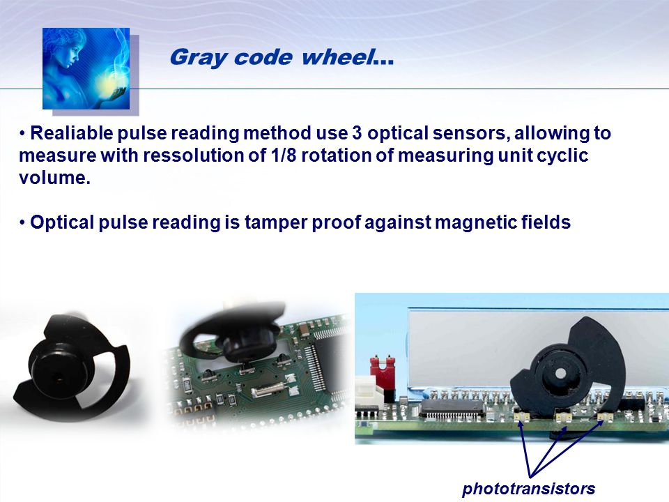 Realiable pulse reading method use 3 optical sensors, allowing to measure with ressolution of 1/8 rotation of measuring unit cyclic volume. Optical pu