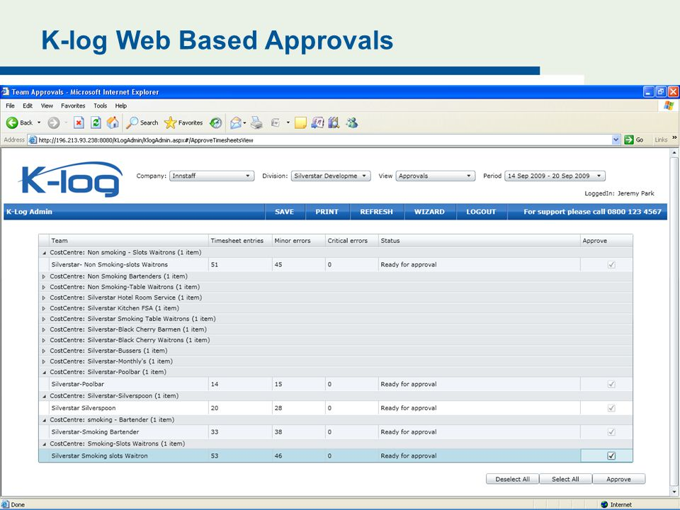 K-log Web Based Approvals