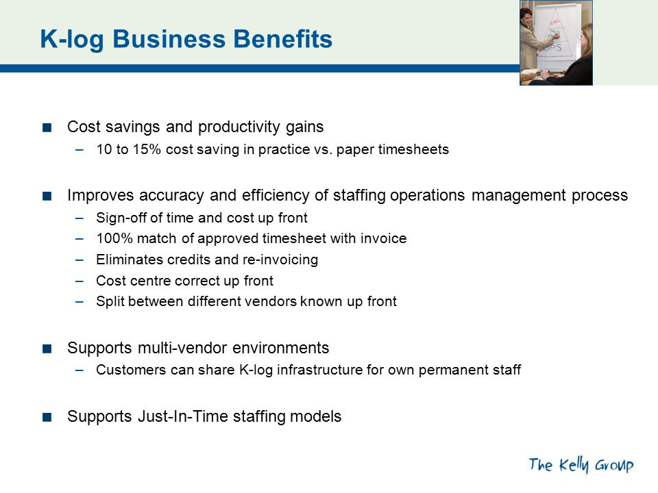 K-log Business Benefits Cost savings and productivity gains –10 to 15% cost saving in practice vs. paper timesheets Improves accuracy and efficiency o