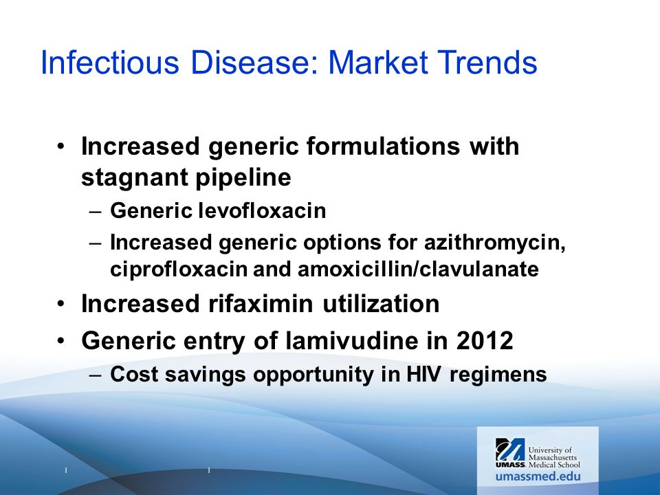 | | Infectious Disease: Market Trends Increased generic formulations with stagnant pipeline –Generic levofloxacin –Increased generic options for azithromycin, ciprofloxacin and amoxicillin/clavulanate Increased rifaximin utilization Generic entry of lamivudine in 2012 –Cost savings opportunity in HIV regimens
