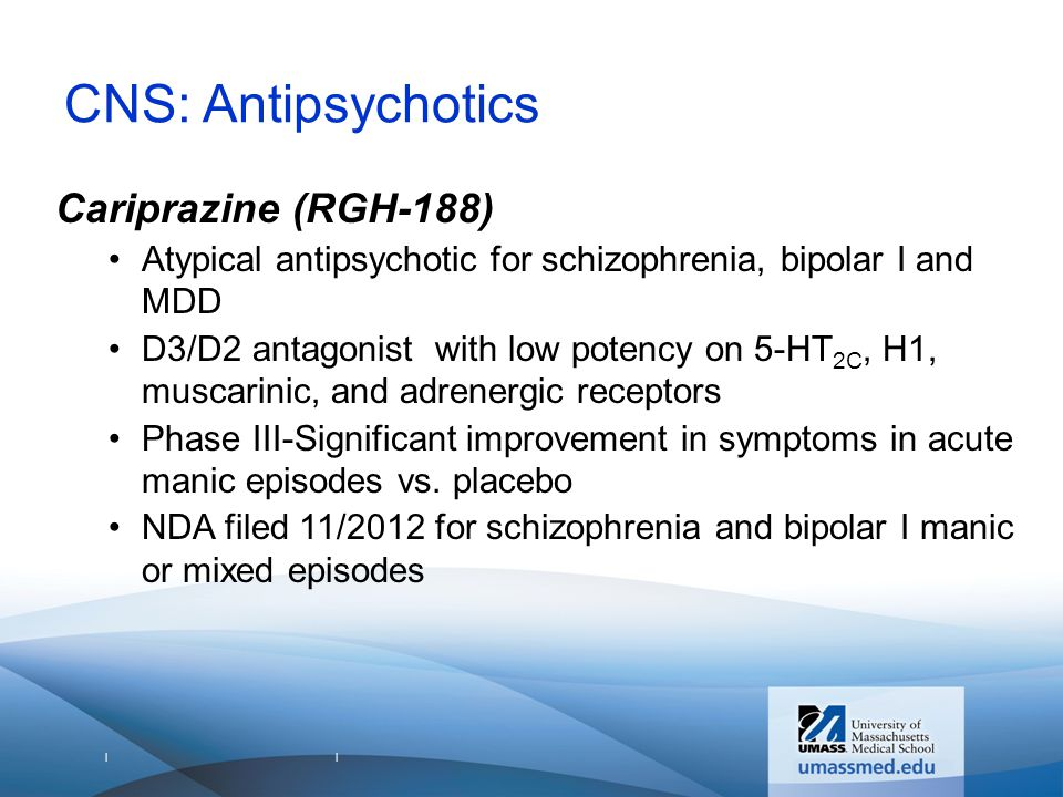 | | CNS: Antipsychotics Cariprazine (RGH-188) Atypical antipsychotic for schizophrenia, bipolar I and MDD D3/D2 antagonist with low potency on 5-HT 2C, H1, muscarinic, and adrenergic receptors Phase III-Significant improvement in symptoms in acute manic episodes vs.