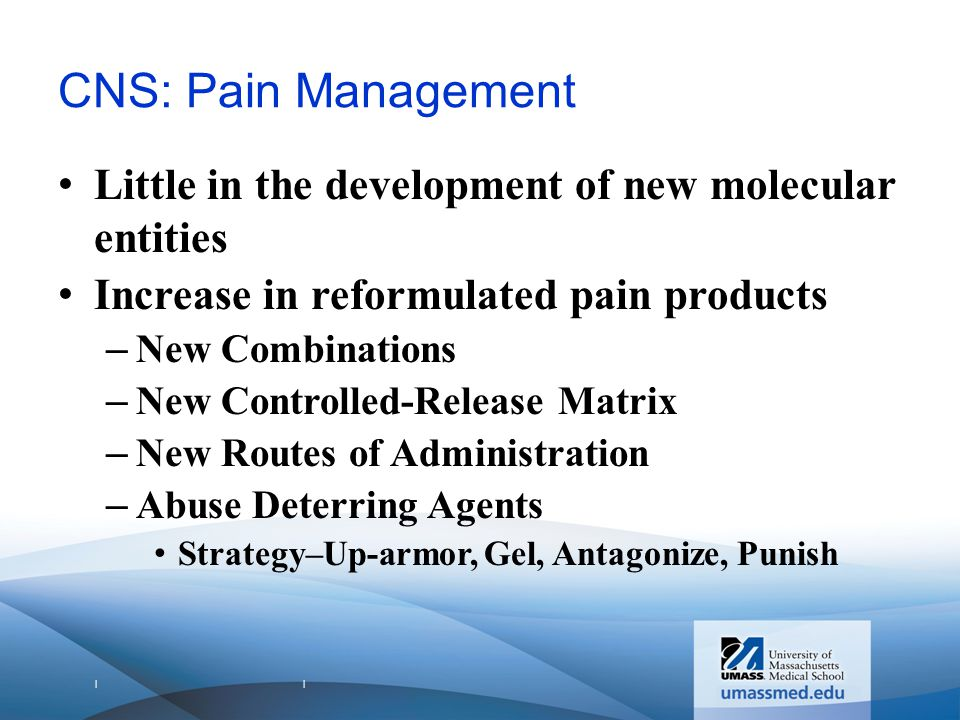 | | CNS: Pain Management Little in the development of new molecular entities Increase in reformulated pain products –New Combinations –New Controlled-Release Matrix –New Routes of Administration –Abuse Deterring Agents Strategy–Up-armor, Gel, Antagonize, Punish