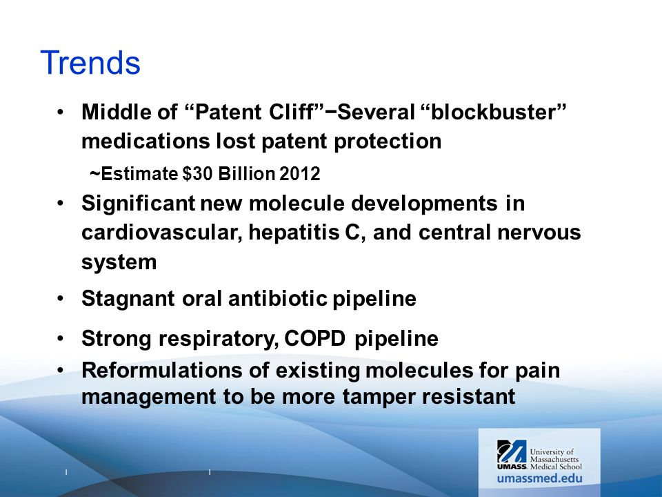 | | Trends Middle of Patent Cliff −Several blockbuster medications lost patent protection ~Estimate $30 Billion 2012 Significant new molecule developments in cardiovascular, hepatitis C, and central nervous system Stagnant oral antibiotic pipeline Strong respiratory, COPD pipeline Reformulations of existing molecules for pain management to be more tamper resistant