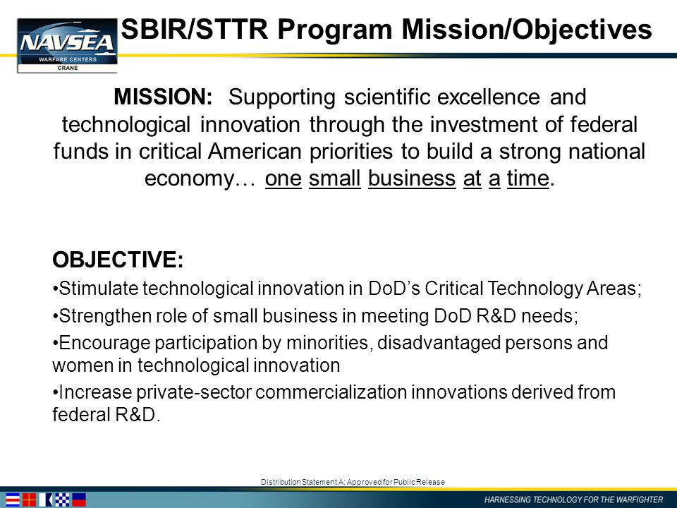 Distribution Statement A: Approved for Public Release SBIR/STTR Program Mission/Objectives MISSION: Supporting scientific excellence and technological