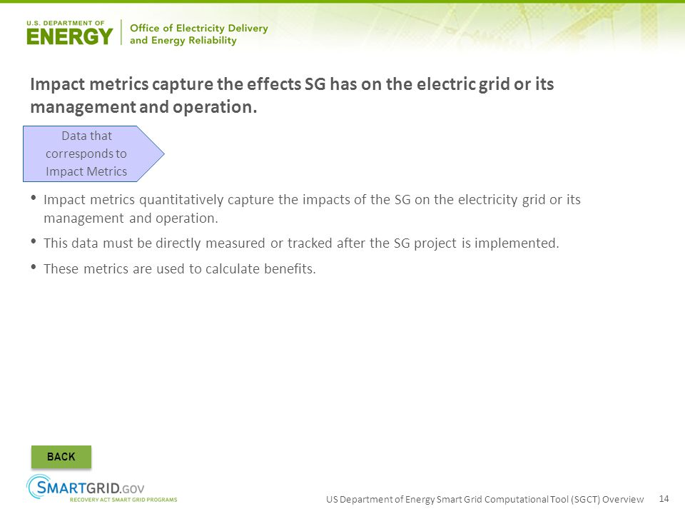 US Department of Energy Smart Grid Computational Tool (SGCT) Overview 14 Impact metrics quantitatively capture the impacts of the SG on the electricit