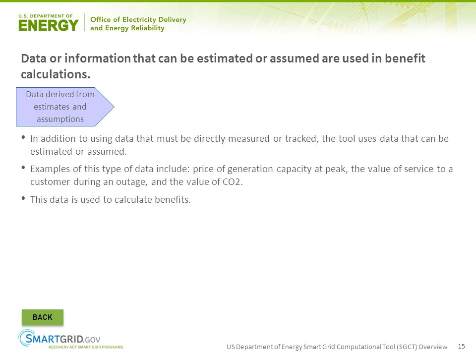 US Department of Energy Smart Grid Computational Tool (SGCT) Overview 15 Data or information that can be estimated or assumed are used in benefit calc
