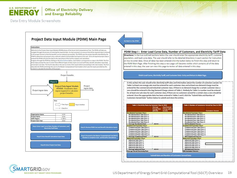US Department of Energy Smart Grid Computational Tool (SGCT) Overview 19 Data Entry Module Screenshots