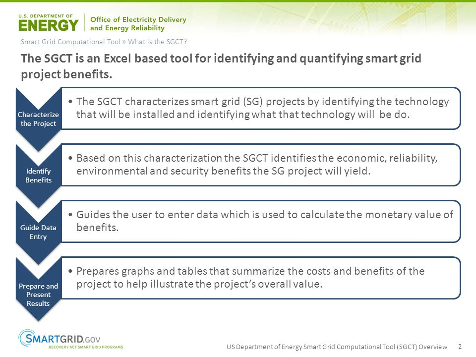US Department of Energy Smart Grid Computational Tool (SGCT) Overview 2 Smart Grid Computational Tool » What is the SGCT? The SGCT is an Excel based t