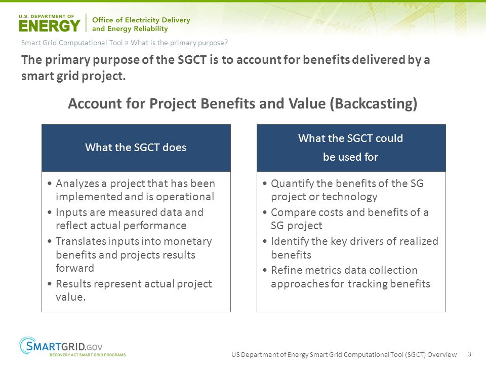 US Department of Energy Smart Grid Computational Tool (SGCT) Overview 3 Smart Grid Computational Tool » What is the primary purpose? The primary purpo