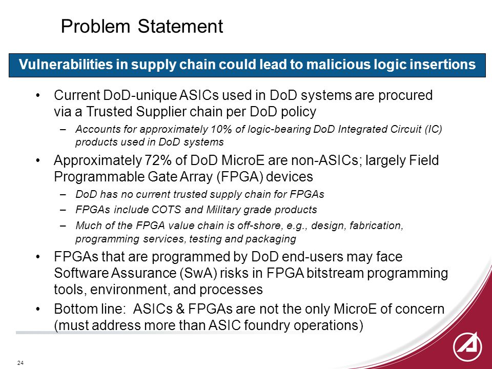 24 Problem Statement Current DoD-unique ASICs used in DoD systems are procured via a Trusted Supplier chain per DoD policy –Accounts for approximately 10% of logic-bearing DoD Integrated Circuit (IC) products used in DoD systems Approximately 72% of DoD MicroE are non-ASICs; largely Field Programmable Gate Array (FPGA) devices –DoD has no current trusted supply chain for FPGAs –FPGAs include COTS and Military grade products –Much of the FPGA value chain is off-shore, e.g., design, fabrication, programming services, testing and packaging FPGAs that are programmed by DoD end-users may face Software Assurance (SwA) risks in FPGA bitstream programming tools, environment, and processes Bottom line: ASICs & FPGAs are not the only MicroE of concern (must address more than ASIC foundry operations) Vulnerabilities in supply chain could lead to malicious logic insertions