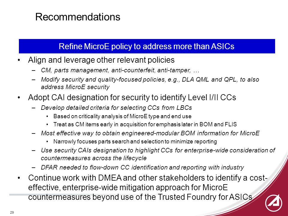 29 Recommendations Align and leverage other relevant policies –CM, parts management, anti-counterfeit, anti-tamper, … –Modify security and quality-foc