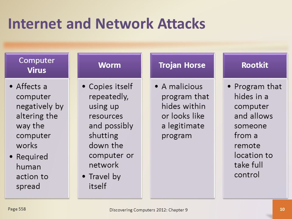 Internet and Network Attacks Computer Virus Affects a computer negatively by altering the way the computer works Required human action to spread Worm Copies itself repeatedly, using up resources and possibly shutting down the computer or network Travel by itself Trojan Horse A malicious program that hides within or looks like a legitimate program Rootkit Program that hides in a computer and allows someone from a remote location to take full control Discovering Computers 2012: Chapter 9 10 Page 558