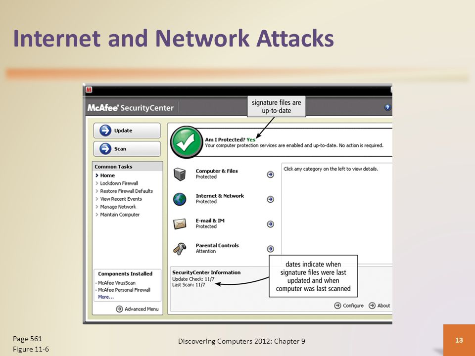Internet and Network Attacks Discovering Computers 2012: Chapter 9 13 Page 561 Figure 11-6