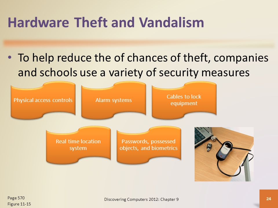Hardware Theft and Vandalism To help reduce the of chances of theft, companies and schools use a variety of security measures Discovering Computers 2012: Chapter 9 24 Page 570 Figure 11-15 Physical access controlsAlarm systems Cables to lock equipment Real time location system Passwords, possessed objects, and biometrics