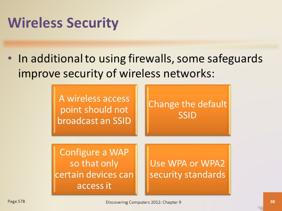 Wireless Security In additional to using firewalls, some safeguards improve security of wireless networks: Discovering Computers 2012: Chapter 9 38 Page 578 A wireless access point should not broadcast an SSID Change the default SSID Configure a WAP so that only certain devices can access it Use WPA or WPA2 security standards
