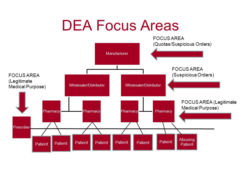 DEA Focus Areas Manufacturer Wholesaler/Distributor Pharmacy Wholesaler/Distributor Pharmacy Prescriber FOCUS AREA (Quotas/Suspicious Orders) FOCUS AREA (Suspicious Orders) FOCUS AREA (Legitimate Medical Purpose) Patient Abusing Patient Patient FOCUS AREA (Legitimate Medical Purpose)