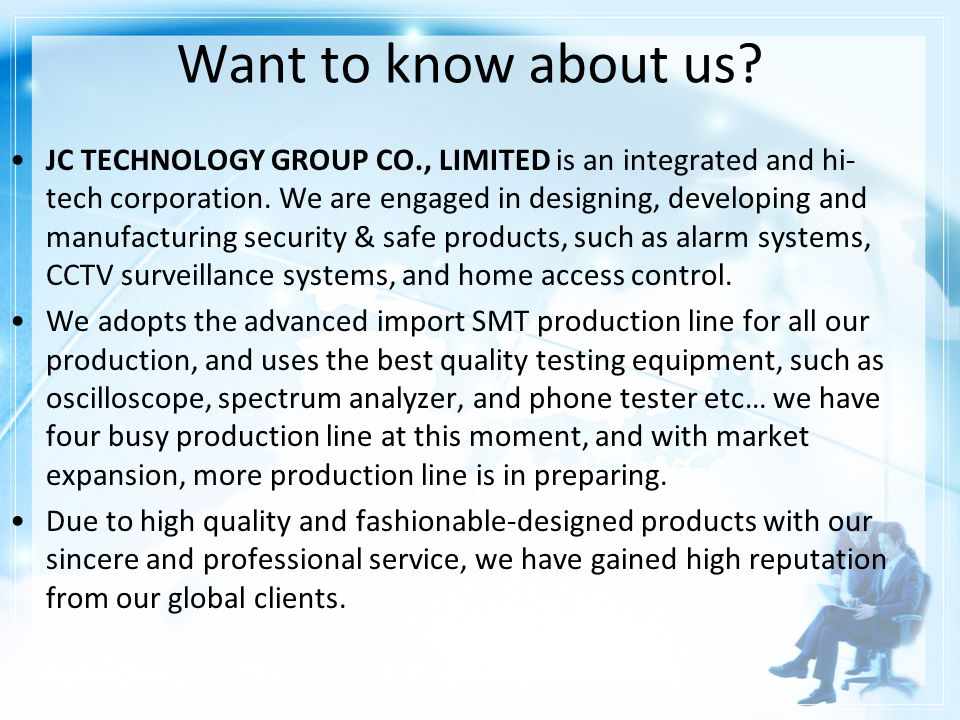 Specialized in alarm system, CCTV and esearch, manufacturing and trading