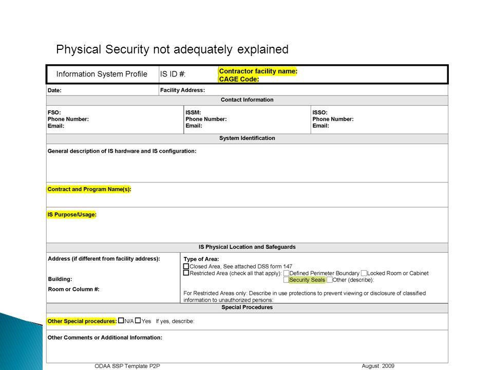 Physical Security not adequately explained