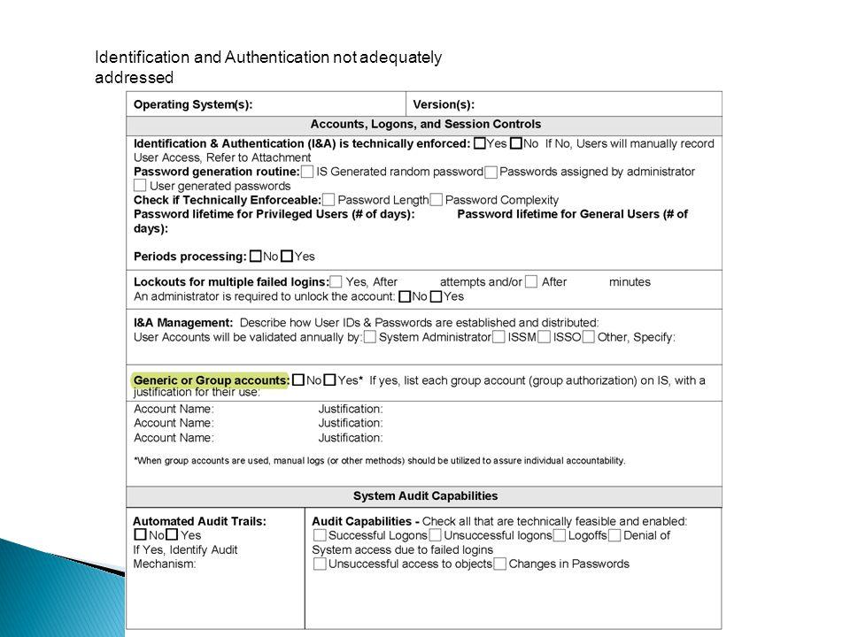 Identification and Authentication not adequately addressed