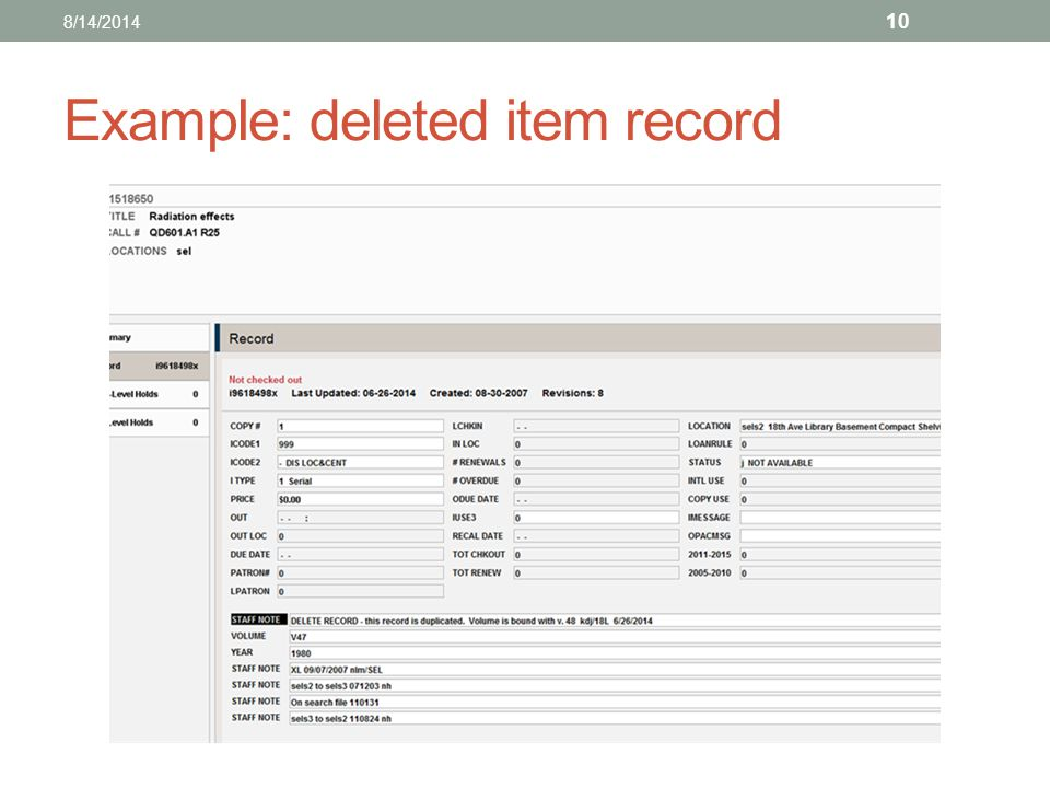 Example: deleted item record 8/14/2014 10
