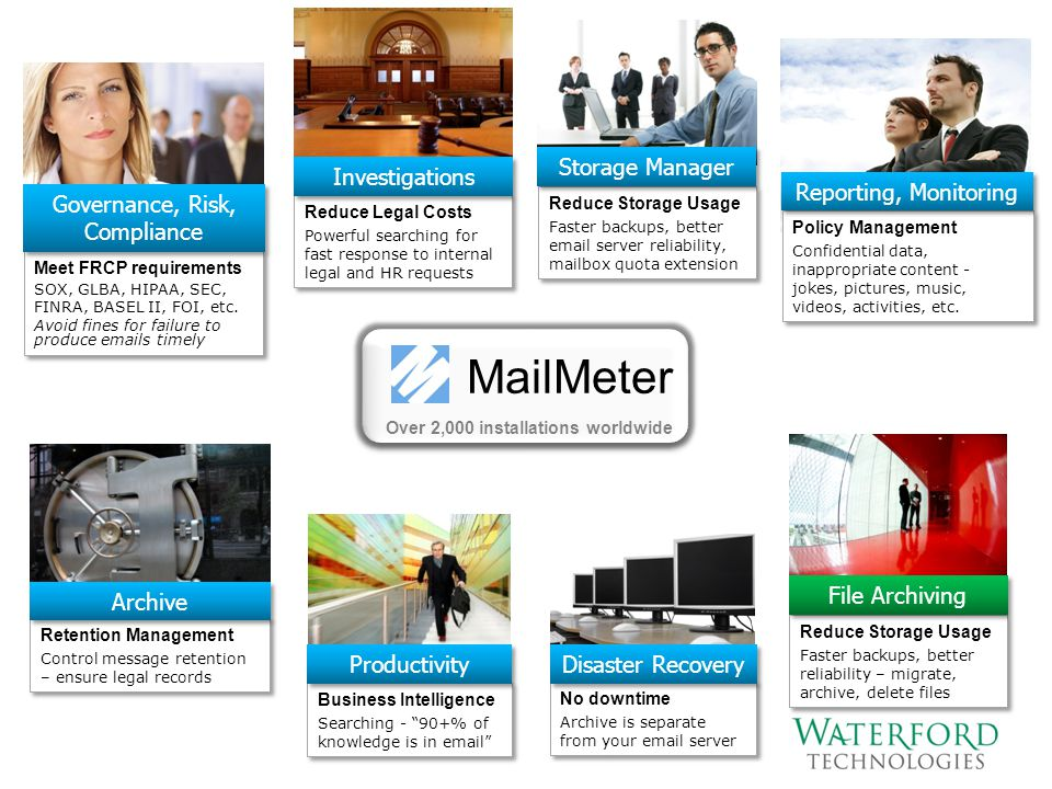 MailMeter Over 2,000 installations worldwide Meet FRCP requirements SOX, GLBA, HIPAA, SEC, FINRA, BASEL II, FOI, etc. Avoid fines for failure to produ