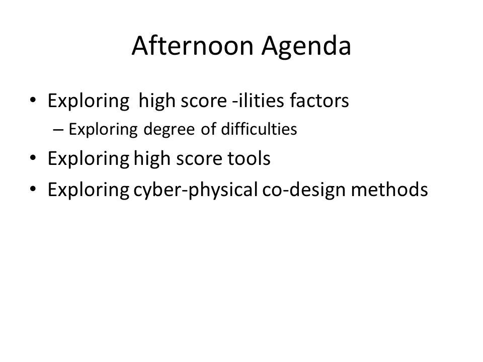 Afternoon Agenda Exploring high score -ilities factors – Exploring degree of difficulties Exploring high score tools Exploring cyber-physical co-desig