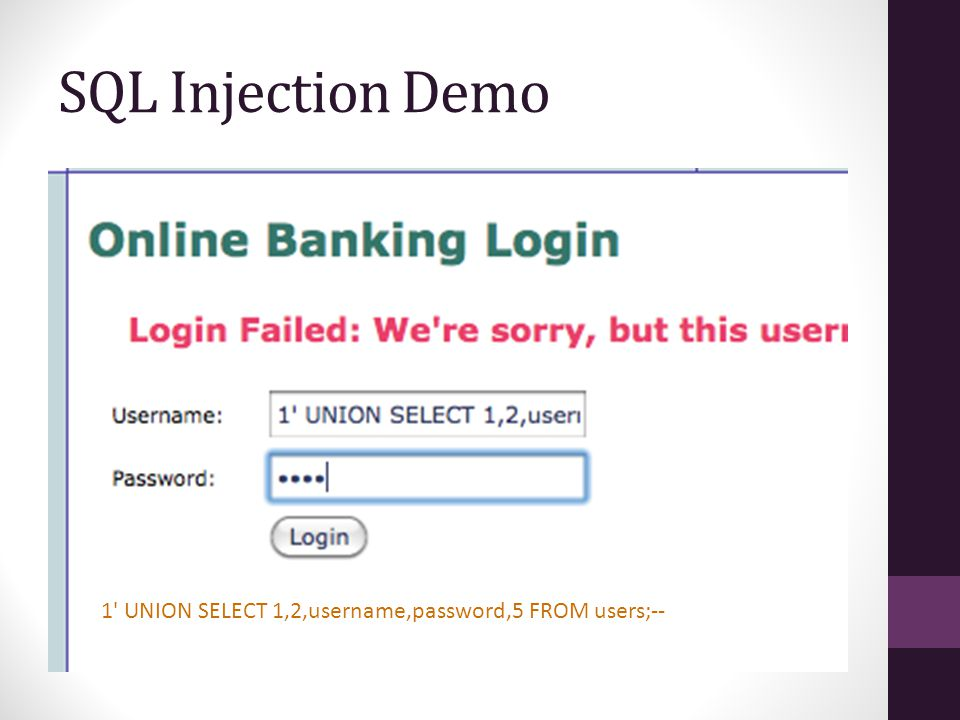 SQL Injection Demo 1 UNION SELECT 1,2,username,password,5 FROM users;--