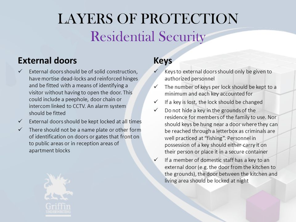 LAYERS OF PROTECTION Residential Security External doors External doors should be of solid construction, have mortise dead-locks and reinforced hinges