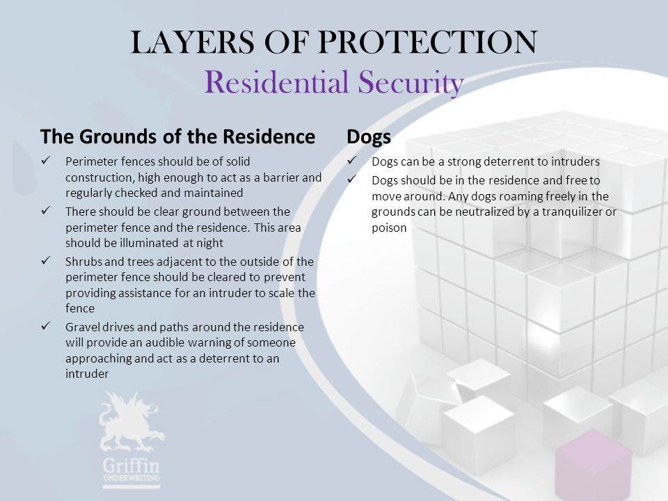 LAYERS OF PROTECTION Residential Security The Grounds of the Residence Perimeter fences should be of solid construction, high enough to act as a barrier and regularly checked and maintained There should be clear ground between the perimeter fence and the residence.
