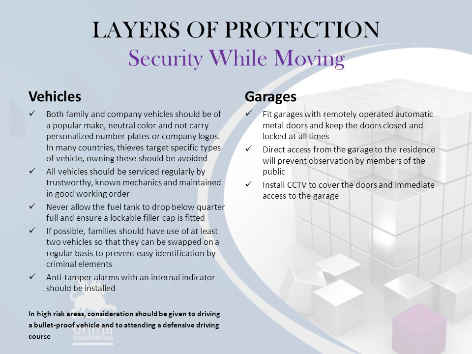 LAYERS OF PROTECTION Security While Moving Vehicles Both family and company vehicles should be of a popular make, neutral color and not carry personalized number plates or company logos.