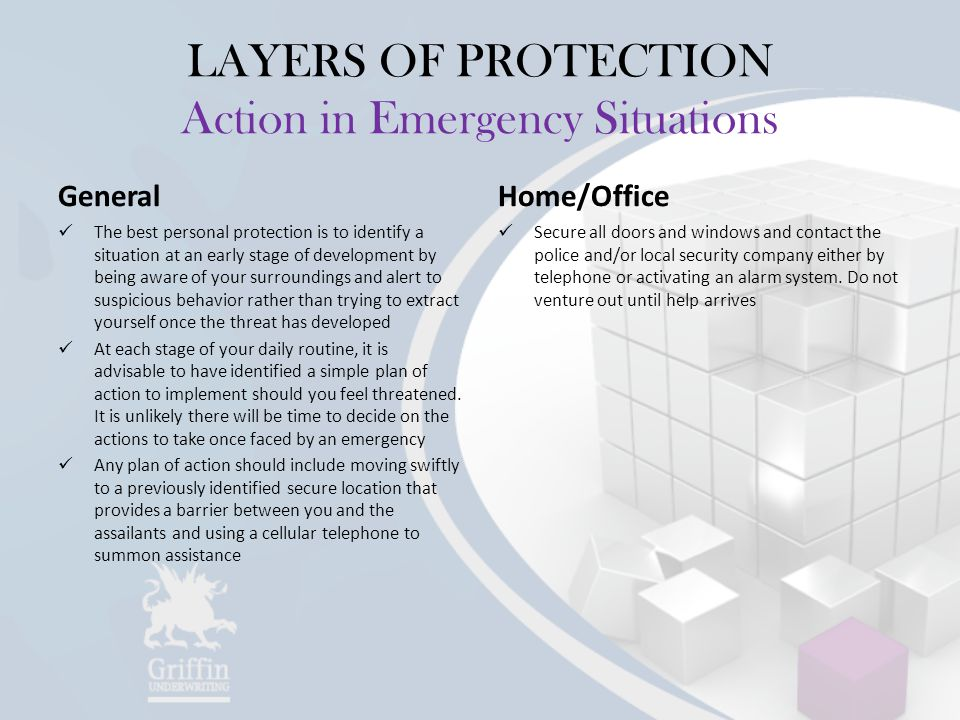 LAYERS OF PROTECTION Action in Emergency Situations General The best personal protection is to identify a situation at an early stage of development b